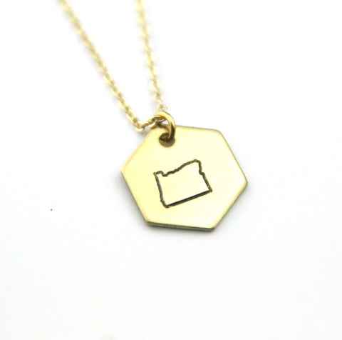Oregon Hexagon - Brass State Stamped Necklace