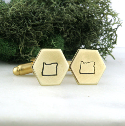 Oregon State - Brass Hexagon Cufflinks