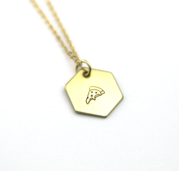 Pizza Hexagon - Brass Stamped Necklace