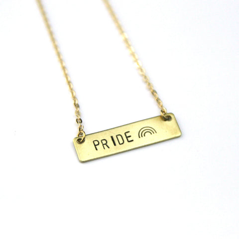 Pride - Stamped Bar Necklace