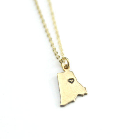 Rhode Island - State Heart Necklace