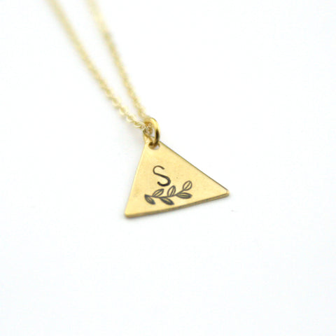 INITIAL + LEAF S - Brass Stamped Necklace