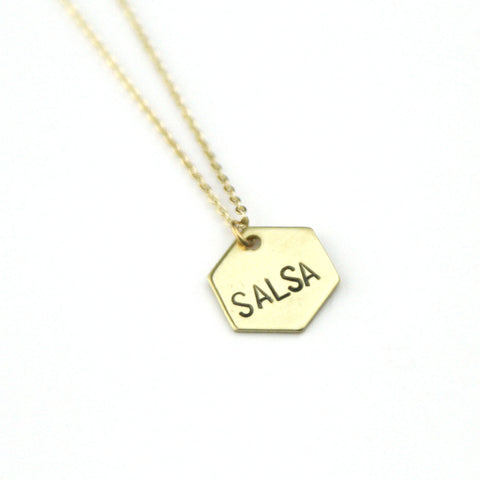 Salsa Hexagon - Brass Stamped Necklace