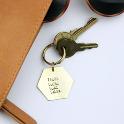 Tacos Queso Guac Salsa - Stamped Keychain