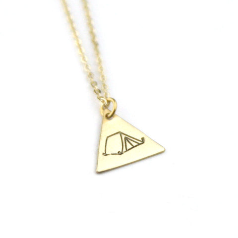 Tent Triangle - Brass Stamped Necklace
