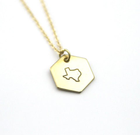 Texas Hexagon - Brass State Stamped Necklace