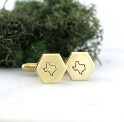 Texas State - Brass Hexagon Cufflinks