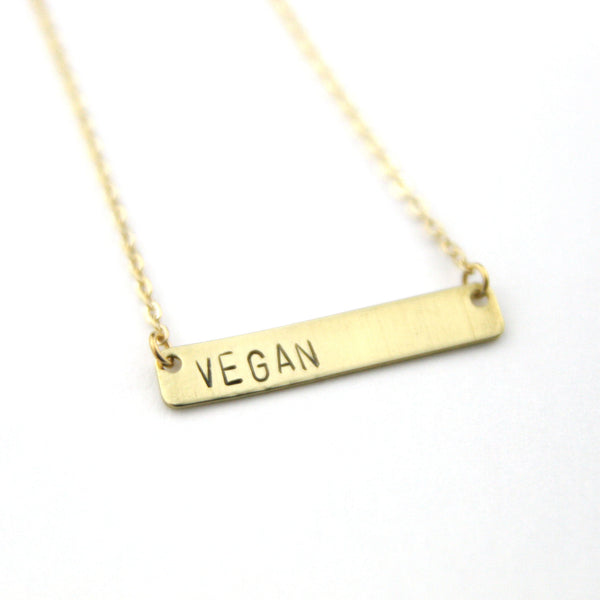 Vegan - Stamped Bar Necklace