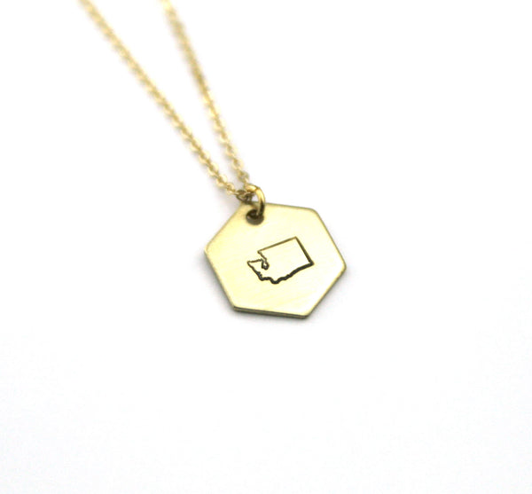 Washington Hexagon - Brass State Stamped Necklace