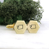 Washington State - Brass Hexagon Cufflinks