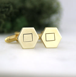 Wyoming State - Brass Hexagon Cufflinks