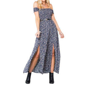 Floral Print Split Tube Party Dress