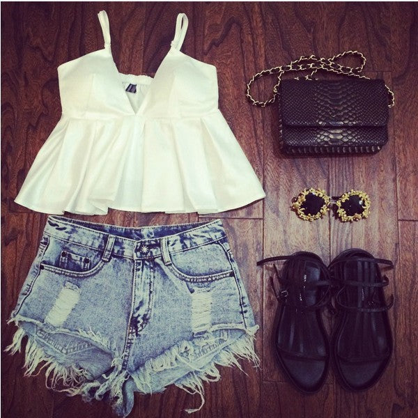 Distressed High waisted Jean shorts