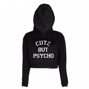 CUTE BUT PSYCHO Crop Top Pullover