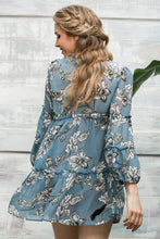 Boho floral long sleeve ruffle dress