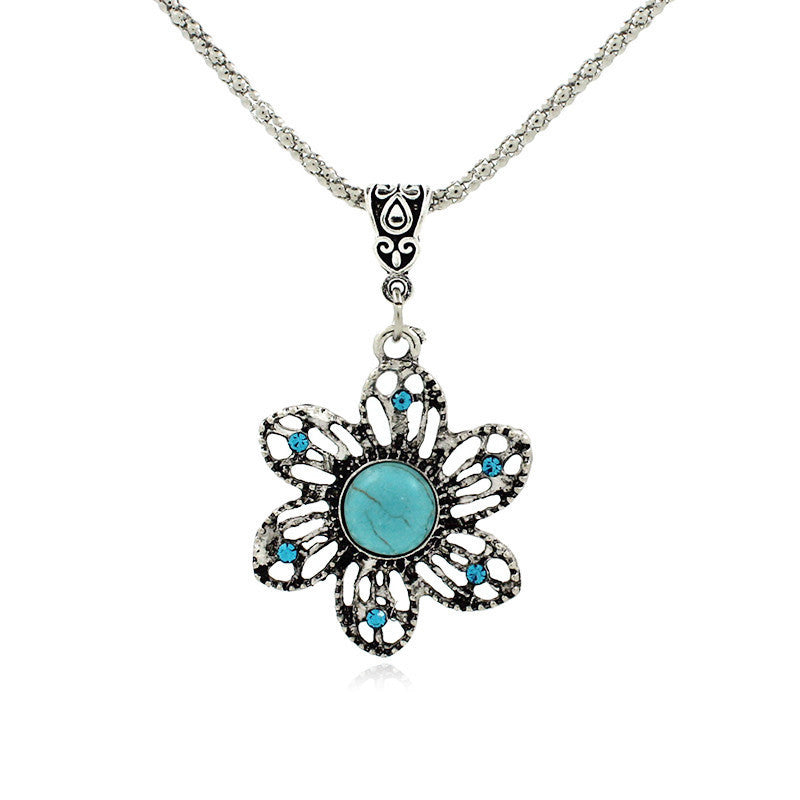 Retro Bohemian Turquoise Sunflower Necklace