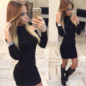 Turtleneck Off The Shoulder Dress