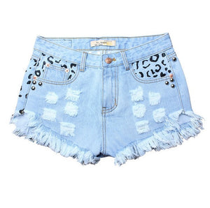 Round Studded Leopard High Waisted Jean Shorts
