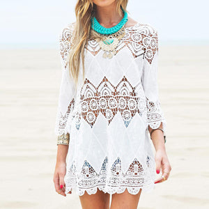 White Dress Crochet Mini Beach Dress