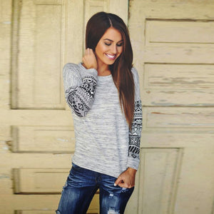 Fall Thin Sweatshirt Geometric Print Loose Pullover