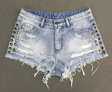 Side Rivet Ripped High Waist Shorts