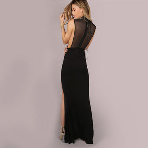Black Party Dress Long Double Slit