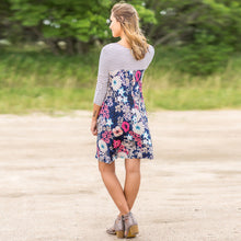 Fall Patchwork Mini Flower Print Dress