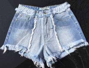 Patchwork High Waisted Jean shorts