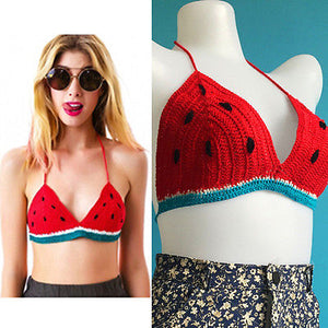 Crochet Watermelon Knitted Bikini Top