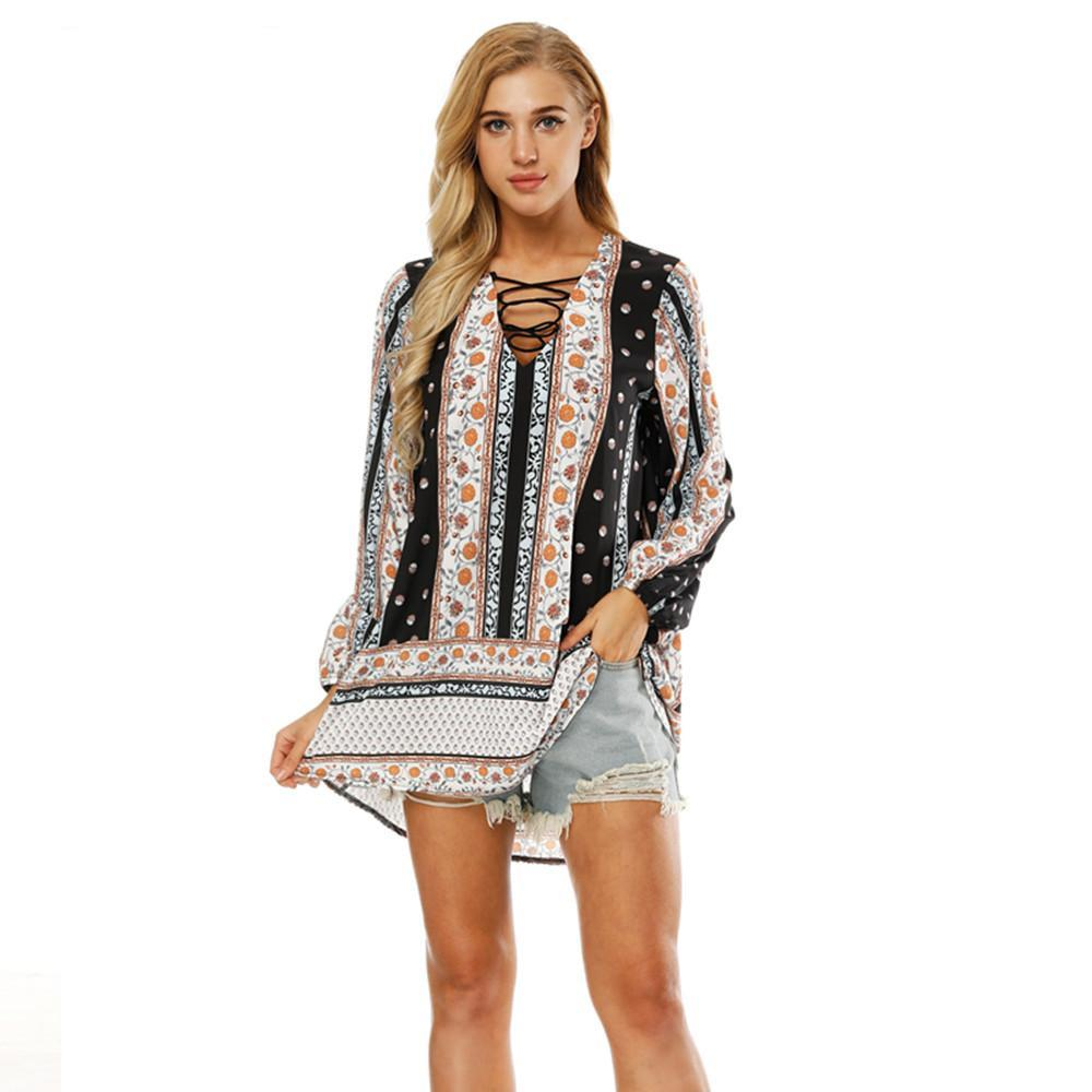 Boho V-neck Long Sleeve Blouse