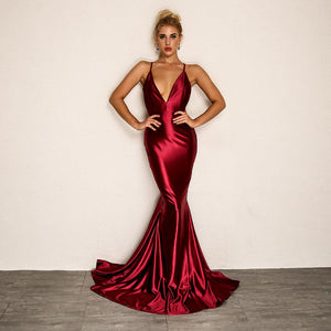 Satin Backless V Neck Maxi Dress