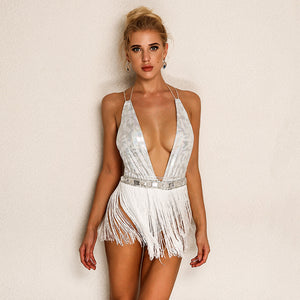 Backless Tassel Romper Dress