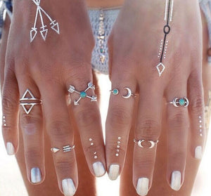 Bohemian 6 Pack Anti Silver Rings
