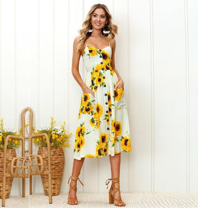 White Sunflower Long Buttoned Sundress