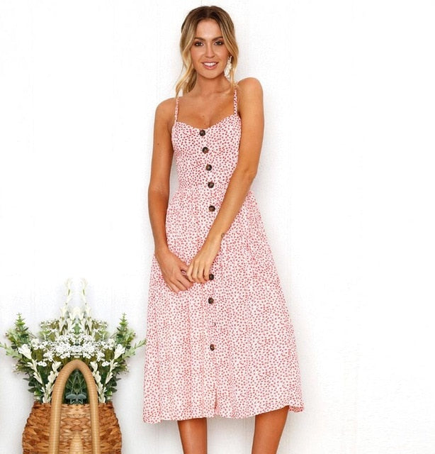 Pink Polka Dot Long Buttoned Sundress