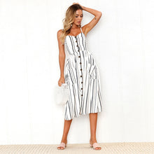 Black and Yellow Striped Long Buttoned Sundress