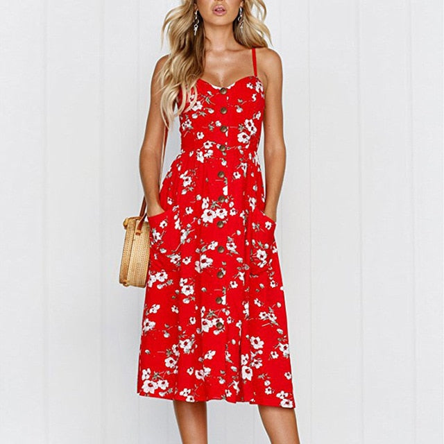 Red Flower Long Buttoned Sundress