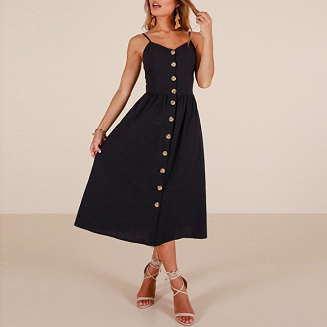 Black Long Buttoned Sundress