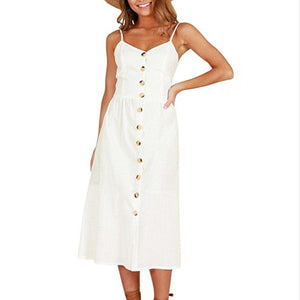 Off White Long Buttoned Sundress