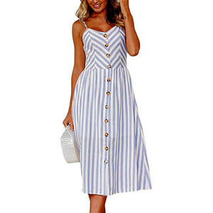 Blue Long Buttoned Sundress
