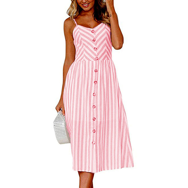 Pink Long Buttoned Sundress