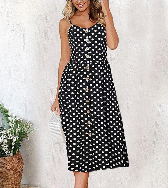 White Polka dot Long Buttoned Sundress