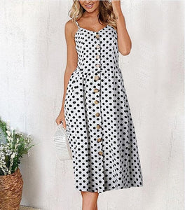 Navy Polka dot Long Buttoned Sundress