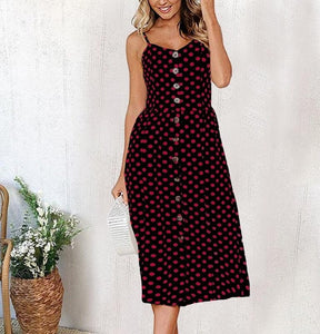 Red Polka Dot Long Buttoned Sundress