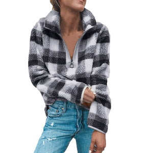 Fleece Plaid Print Sweater