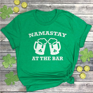 St Patricks Day Tshirt Namastay at the bar