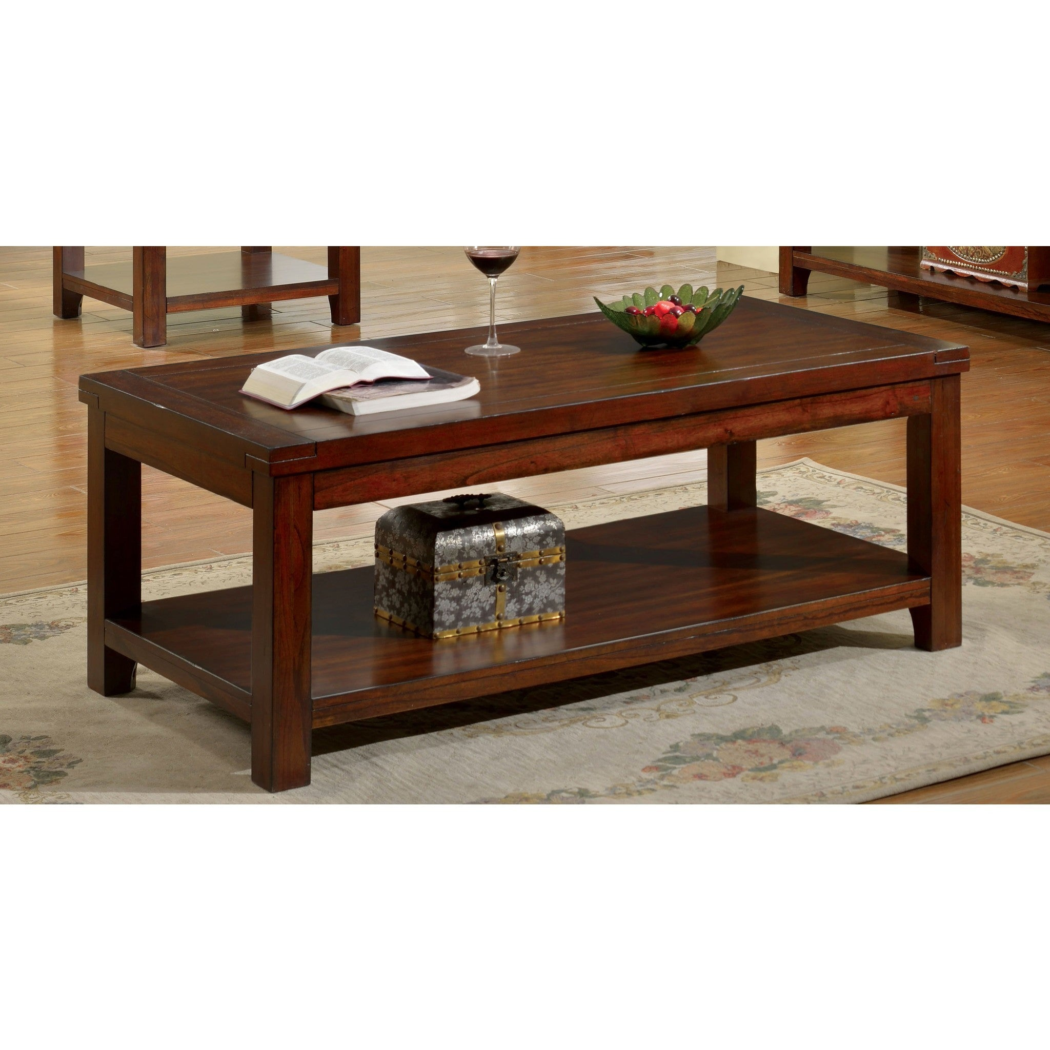 Desdin Transitional Style Open Shelf Coffee Table In Dark Cherry
