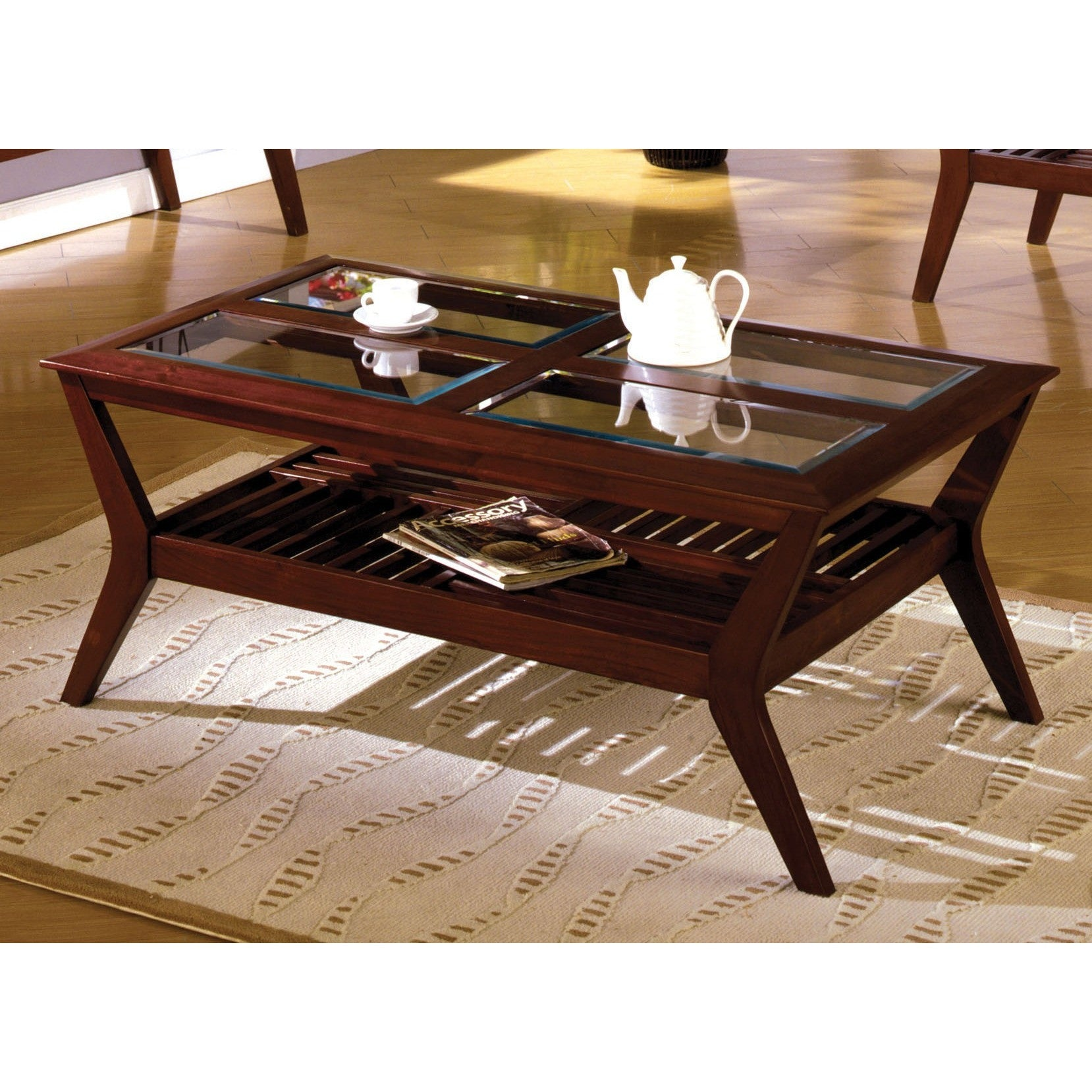 Cherry Coffee Table.Sorensin Transitional Style Glass Top Coffee Table In Dark Cherry