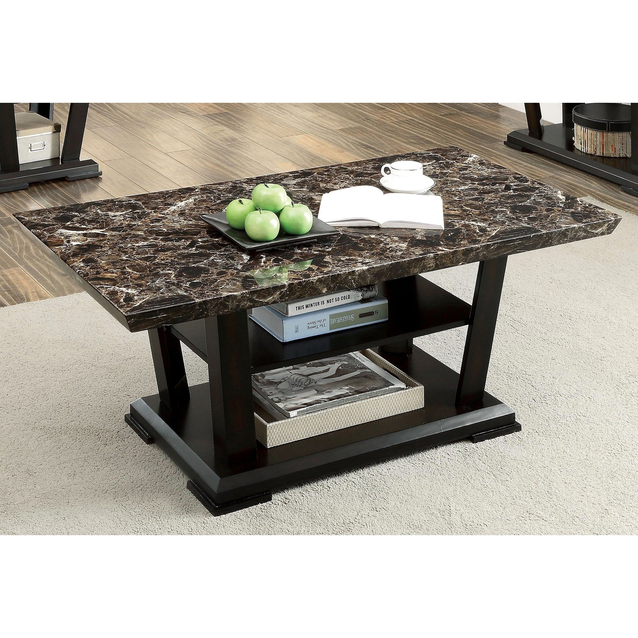 Gizelle Contemporary Style Faux Marble Coffee Table In Dark Walnut
