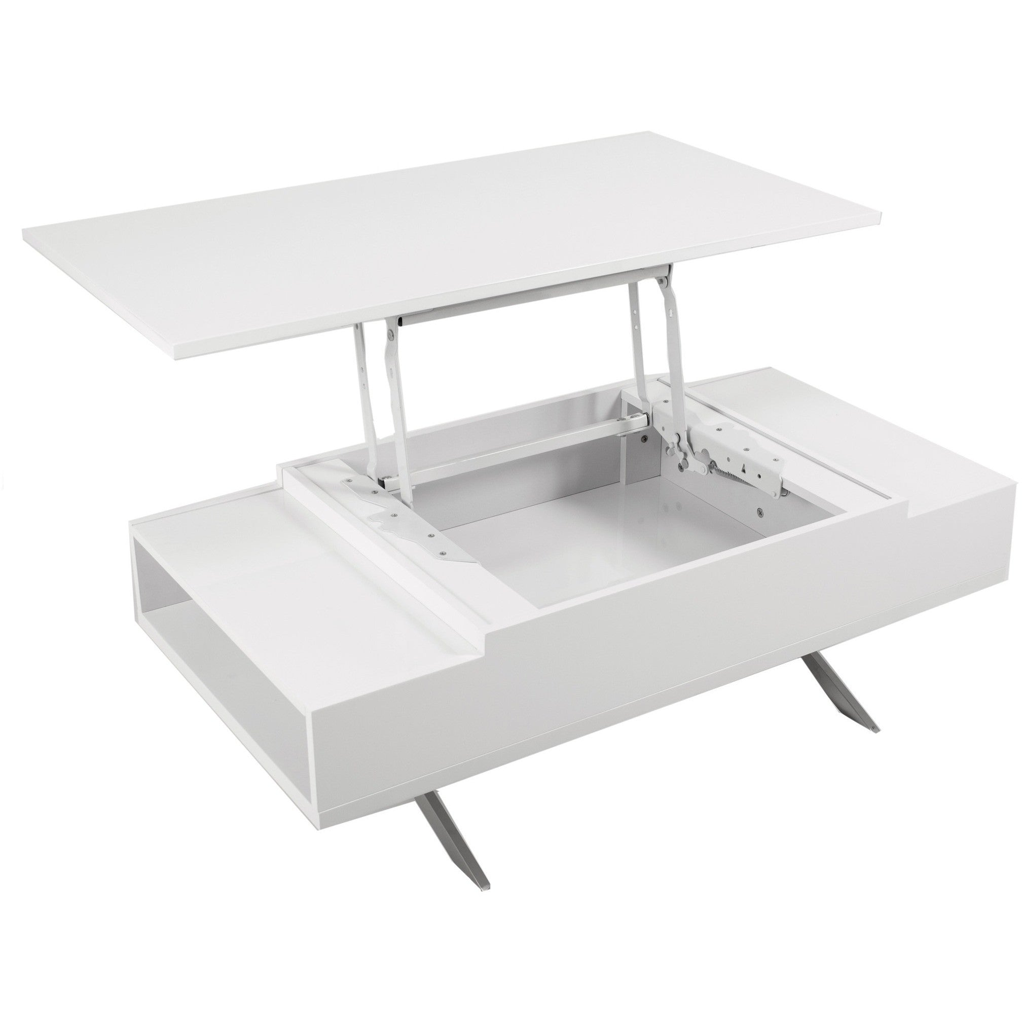 Stelar White Lift Top Rectangular Coffee Table By Matrix Coffee Table Direct
